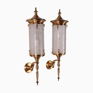 Applique in ottone e vetro decorato, Italia, anni '50, set di 2