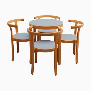 Round Table & Stacking Chairs by Thygesen for Magnus Olesen, Denmark, 1981, Set of 5
