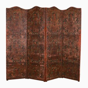Italian Painted Leather Screen, 1820s