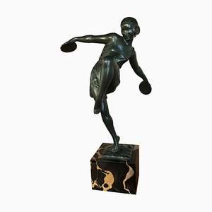 Art Deco Dancer with Cymbals Sculpture on Marble Base by Fayral, 1930s