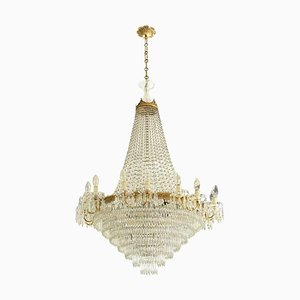 Italian Empire Style Crystal Drops & Golden Brass Crown Chandelier, 1950s