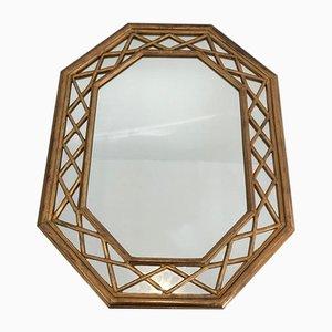 French Giltwood Octogonal Glazing Mirror, 1970s
