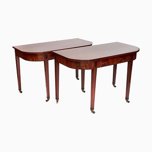 Antique English Regency Mahogany Inlaid Console Tables, Set of 2