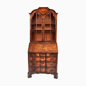 Antique Queen Anne Revival Walnut Bureau Bookcase