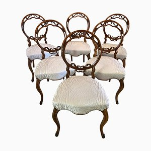 Antique English Victorian Walnut Dining Chairs, Set of 6