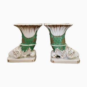Antique Regency Porcelain Spill Vases, Set of 2