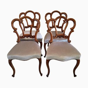 Antique Victorian Walnut Dining Chairs, Set of 4