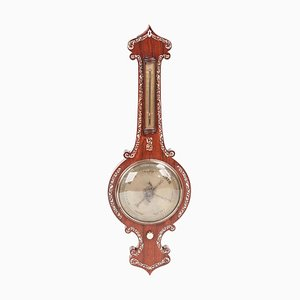 19th Century Hardwood Inlaid Banjo Barometer