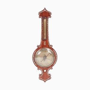 19th Century Hardwood Inlaid Banjo Barometer