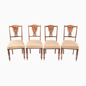Edwardian Rosewood Inlaid Dining Chairs, 1901, Set of 4