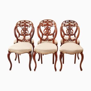 Antique Victorian Carved Walnut Dining Chairs, Set of 6