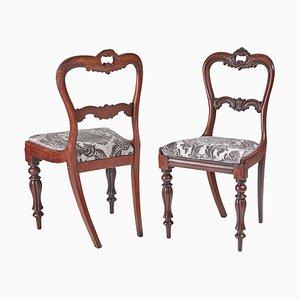 Antique William IV Carved Hardwood Side or Desk Chairs, 1830s, Set of 2