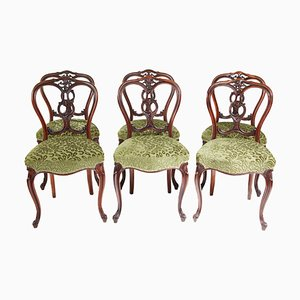 19th Century Victorian Walnut Dining Chairs, Set of 6
