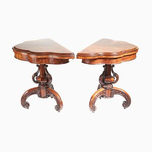 Antique Victorian Burr Walnut Card Tables, 1850s, Set of 2