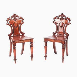 Antique William IV Mahogany Hall Chairs, Set of 2