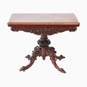 Victorian Carved Hardwood Card Table
