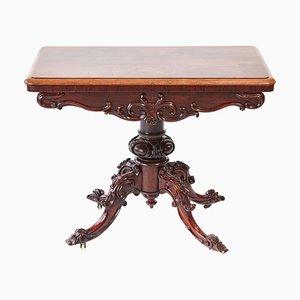 Viktorianischer Kartentisch aus geschnitztem Hartholz