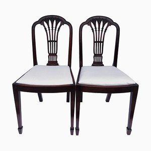 Antique Mahogany Carved Side or Desk Chairs, Set of 2