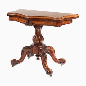 Viktorianischer Serpentinförmiger Kartentisch aus Wurzel- & Nussholz