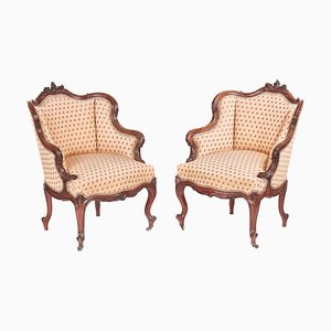 Antique French Carved Walnut Library Chairs, Set of 2