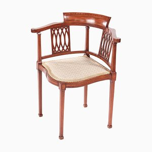 Antique Mahogany Inlaid Corner Chair, 1890s