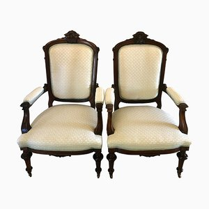 Antique Victorian Carved Hardwood Library Chairs, Set of 2