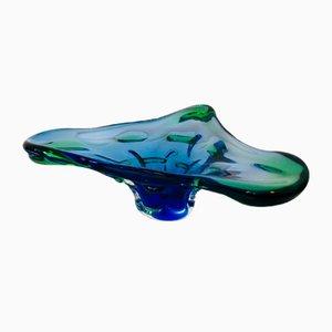 Vintage Blue and Green Glass Bowl by Josef Hospodka for Chribska, 1970s