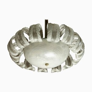 14 Pulegoso Leaves Reticello Bowl Lamp from Barovier & Toso, 1930s