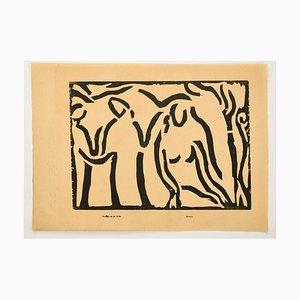 Music - Original Woodcut Print by Arturo Martini - Early 20th Century Early 20th century