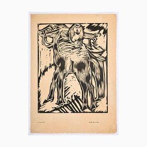 Horsewoman - Original Woodcut Print by Arturo Martini - Early 20th Century Early 20th century