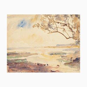 Paysage Tropical - Aquarelle Originale par André Ragot - 1960s 1960s