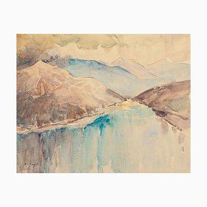Tropical Landscape - Original Watercolor by André Ragot - 1960s 1960s