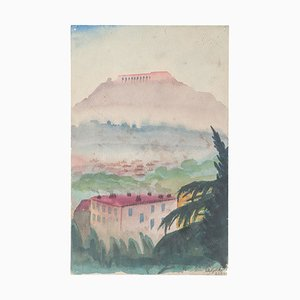 Athens: Vie of the Akropolis - Watercolor on Paper by Jean Delpech - 1937 1937