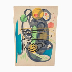 Abstract Composition - Tempera and Watercolor on Paper by Jean Delpech - 1960s 1960s