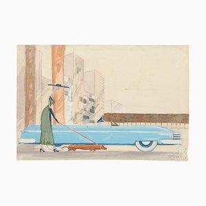 Ansicht von New York - Aquarell auf Papier von Jean Delpech - 1954 1954