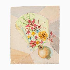 Vaso a forma di fiore - Acquarello originale su carta di Jean Delpech - anni '60
