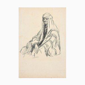 Portrait d'Arabe - Dessin Original Charbon par Jean Plumet - Début 20ème Siècle Début 20ème Siècle