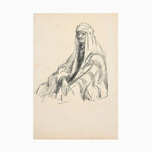 Portrait of Arab - Original Charcoal Drawing by Jean Plumet - Early 20th Century Early 20th Century