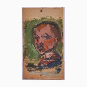 Portrait - Original Oil Drawing on Cardboard - 20th Century 20th century