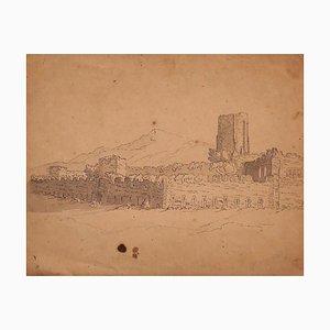 Castle - Original Feder und Wasserfarbe auf Papier - 18. Jahrhundert 20. Jahrhundert