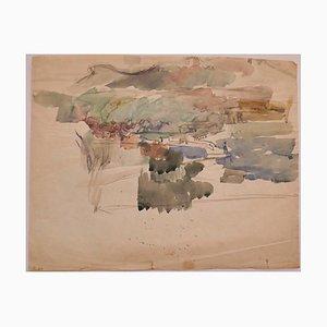 Landscape - Original Watercolor on Paper - 20th Century 20th Century
