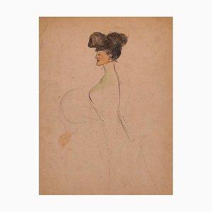 Portrait - Original Mixed Media Drawing - 19th Century 19th Century