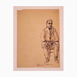 Portrait - Dessin à l'Encre d'Origine sur Papier - 1920s 1920s