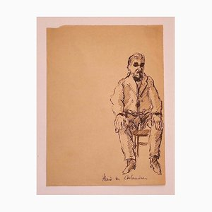 Retrato: dibujo original de tinta sobre papel, años 20