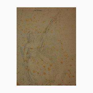 Frau - Original Zeichnung auf Papier - 18. Jahrhundert