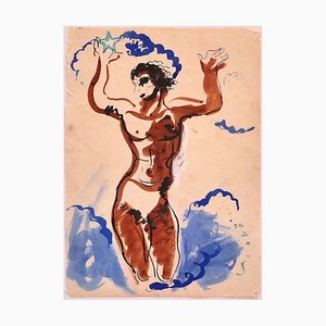 Dancer - Original China Ink and Water Color on Paper - 20th Century 20th Century