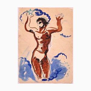 Tänzerin - Original Tinte und Aquarell auf Papier aus China - 20. Jahrhundert 20th Century