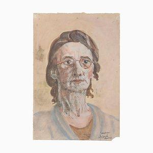 Portrait of Artist's Mother - Aquarell auf Papier von Jean Delpech - 1950er 1950er