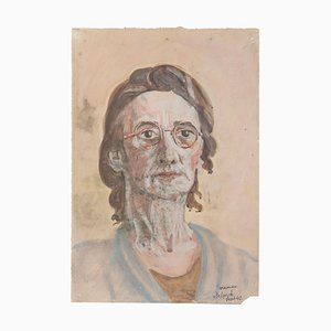 Portrait of Artist's Mother - Watercolor on Paper by Jean Delpech - 1950s 1950s