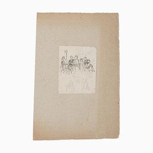 Religious Ceremony - Original Pencil on Paper - 20th Century 20th Century